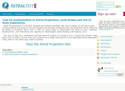 Online TEST for predisposition to Astral Projections, lucid dreams and OBE, Extrasensory perception clairvoyance test